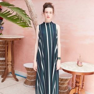Sleeveless Maxi dress - Long Strip - Green